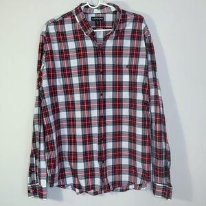 Express Red & White Plaid Long Sleeve Button Down